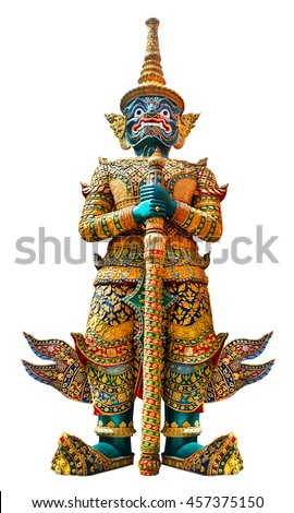 Giant guardian statue in Wat Phra Kaew Grand Palace Bangkok isolated on white background - stock photo