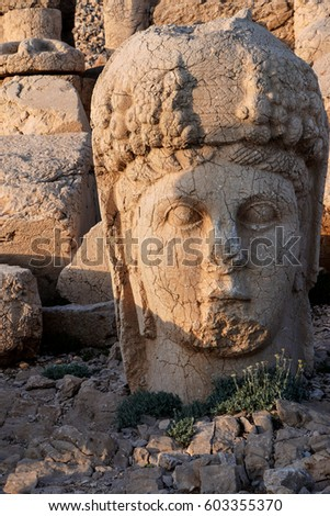 Giant head of goddess Tyche,  tumulus of Nemrut Dag,  Turkey