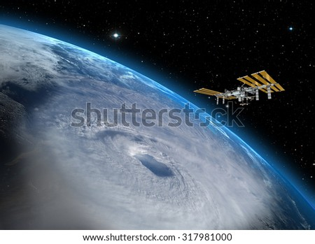 """Giant hurricane seen from the space"""" Elements of this image furnished by NASA"""" - stock photo"""