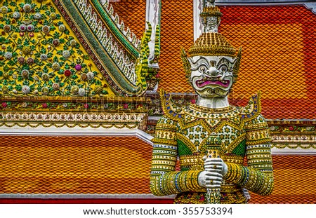 Giant in Grand palace and Wat Pra keaw in Bangkok, Thailand
