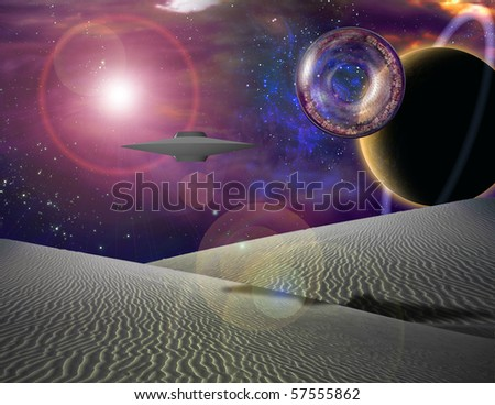 Giant interstaller vehicle contains city floats over sand landscape - stock photo