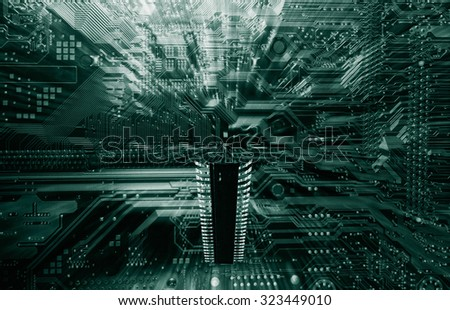 giant microchip floating above a compouters circuit-board, technology industrial - stock photo