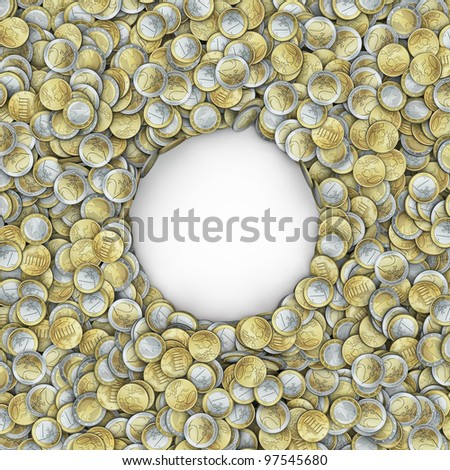 Giant money frame with different euro coins - stock photo