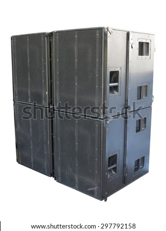 Giant old stage industrial speakers isolated over white background