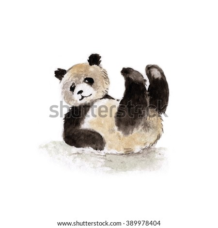 Giant panda lying on his back, watercolor - stock photo
