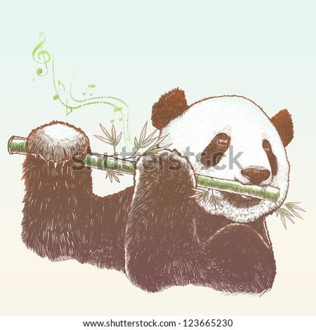 Giant panda, The bamboo musician - stock photo