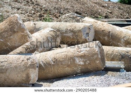 Giant pillars for construction site. - stock photo