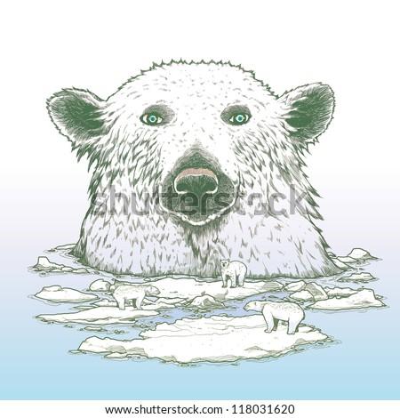 Giant polar bear of arctic - stock photo