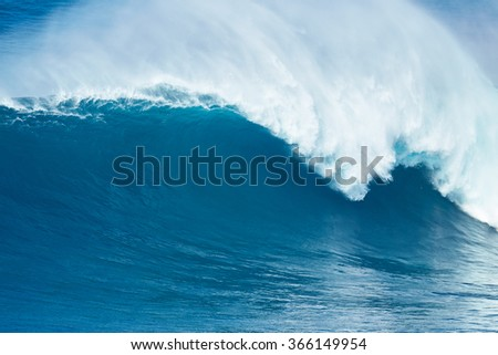 Giant powerful blue ocean wave - stock photo