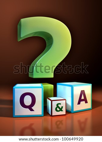 Giant question mark and some cubes with embossed letters. Digital illustration. - stock photo