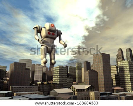 Giant robot on the city - stock photo