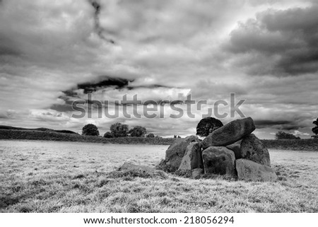 Giant's ring: 5000 years old dolmen in Northern Ireland, Belfast - stock photo