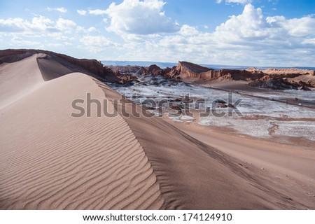 Giant sand dune in Moon Valley in Atacama Desert - stock photo