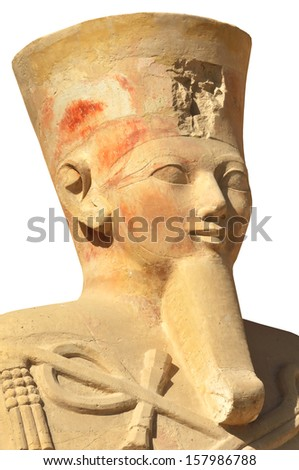 Giant statue of Pharoah Queen Hatshepsut at Thebes in Egypt, isolated against a white background, complete with pharaonic beard - stock photo