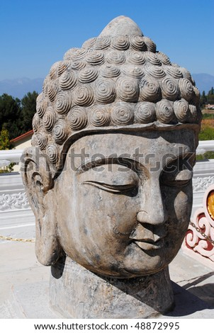 giant stone buddha head