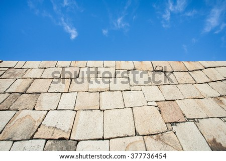 giant stone wall - stock photo