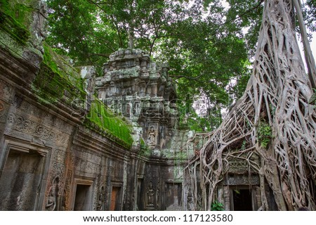 Giant tree covering the stones of Ta Prohm temple in Angkor Wat (Siem Reap, Cambodia). - stock photo