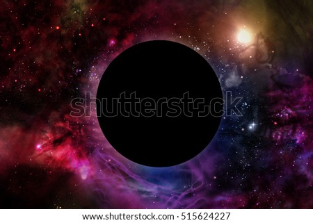 Giant universe starscape 3D illustration with solar eclipse