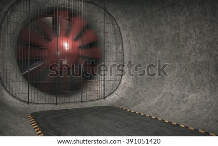 Giant wind tunnel with fan blades spinning. 3D image concept.