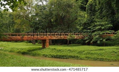 giant wood bridge across the river with forest
