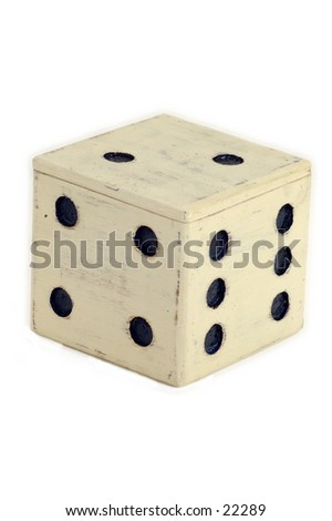 Giant wooden dice, isolated over white