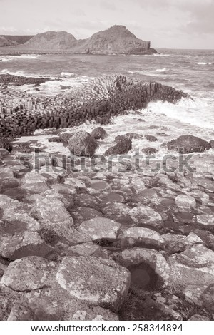Giants Causeway, County; Antrim; Northern Ireland in Black and White Sepia Tone