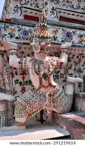 Giants on temple in Wat Arun Bangkok Thailand,close up - stock photo