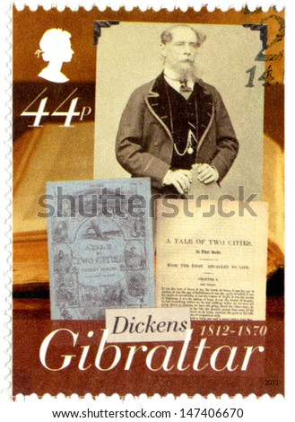 GIBRALTAR - CIRCA 2005 : A stamp printed in Gibraltar shows Charles Dickens (1812-1870), a tale of two cities, 200th anniversary of Charles Dickens, circa 2005 - stock photo