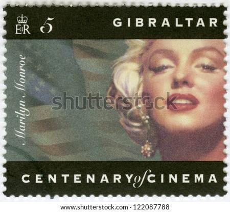GIBRALTAR - CIRCA 1995: A stamp printed in Gibraltar shows Marilyn Monroe, circa 1995 - stock photo