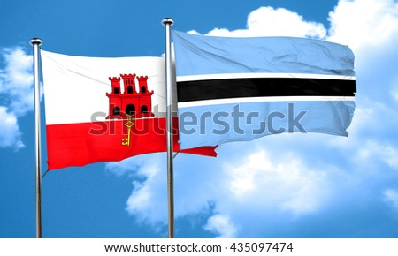 gibraltar flag with Botswana flag, 3D rendering