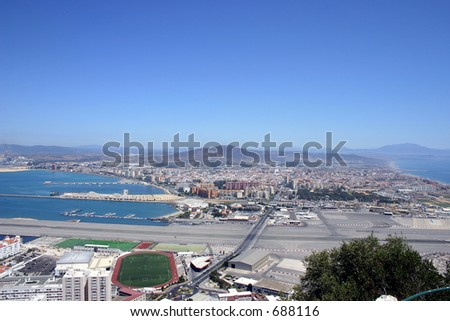 Gibraltar, looking over the spanish border - stock photo