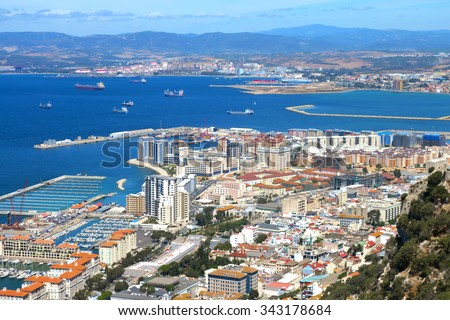 Gibraltar, seaport, ships, the Bay of Algeciras, coast of Spain. - stock photo