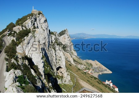 Gibraltar upper rock nature reserve top (East side) - stock photo