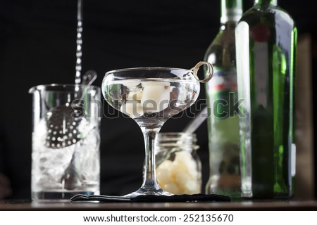 Gibson mixed drink with onions - stock photo