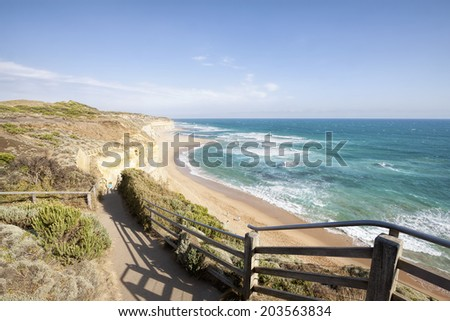 Gibson Steps and beach, Great Ocean Road, Victoria, Australia - stock photo
