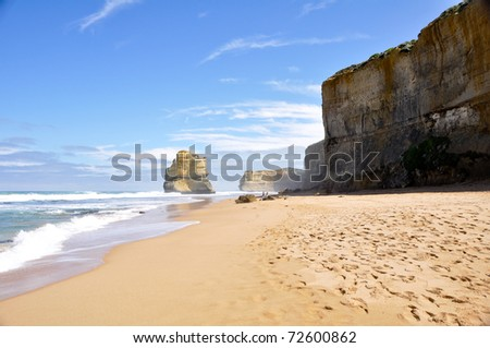 Gibson Steps and the Twelve Apostles along Great Ocean road - stock photo