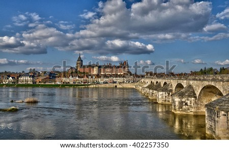 Gien, France - april 5 2015 : the bridge and the city on Loire river