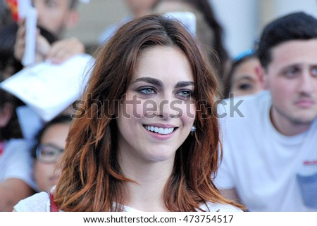 Giffoni Valle Piana, Sa, Italy - July 19, 2016: actress Miriam Leone at Giffoni Film Festival 2016 - on July 19, 2016 in Giffoni Valle Piana, Italy