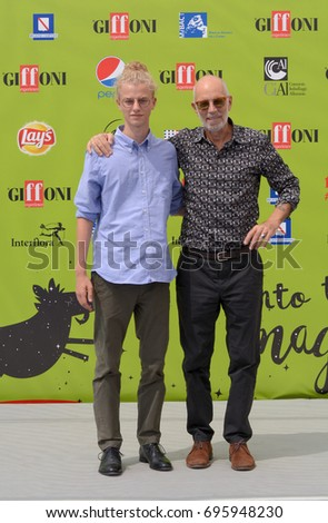 Giffoni Valle Piana, Sa, Italy - July 21, 2017 : Gabriele Salvatores and Ludovico Girardello at Giffoni Film Festival 2017 - on July 21, 2017 in Giffoni Valle Piana, Italy