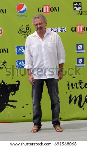 Giffoni Valle Piana, Sa, Italy - July 19, 2017 : Giovanni Veronesi at Giffoni Film Festival 2017 - on July 19, 2017 in Giffoni Valle Piana, Italy