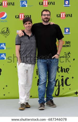 Giffoni Valle Piana, Sa, Italy - July 15, 2017 : Ivan Silvestrini and Mauro Uzzeo at Giffoni Film Festival 2017 - on July 15, 2017 in Giffoni Valle Piana, Italy