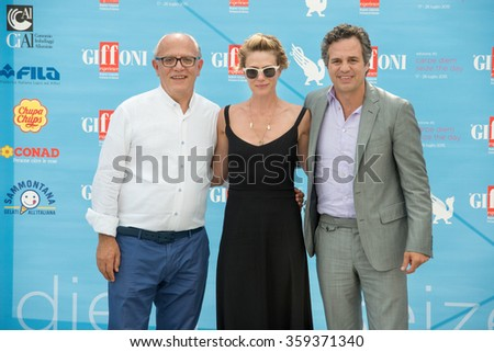GIFFONI VALLE PIANA (SA) - JULY 18: Actor Mark Ruffalo and wife Sunrise Coigney and Claudio Gubitosi poses at photocall during the 45th Giffoni Film Festival, July 18, 2015 in Salerno, Italy. - stock photo