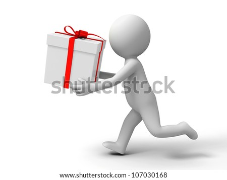 Gift/ a people is running with a gift box - stock photo