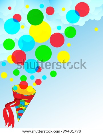 Gift background from multi-colored spheres with a cone