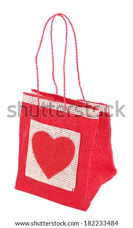 Gift bag isolated on white - stock photo