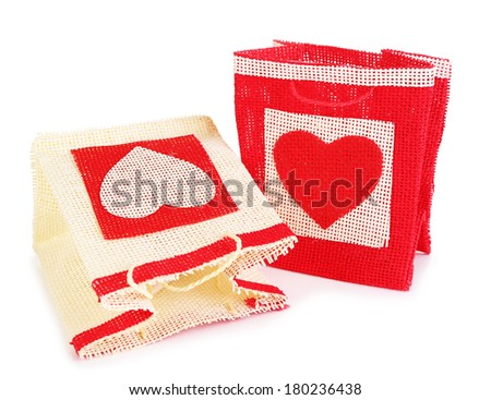 Gift bags isolated on white - stock photo