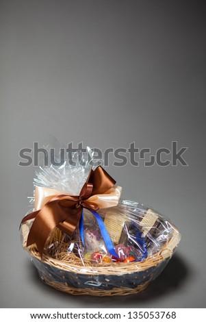 gift basket on grey - stock photo