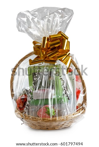 Gift basket stock images royalty free images vectors shutterstock gift basket packed in transparent paper with a big yellow bow isolated on a white background negle Gallery