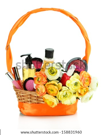 Gift basket gift basket with cosmetics isolated on white negle Choice Image