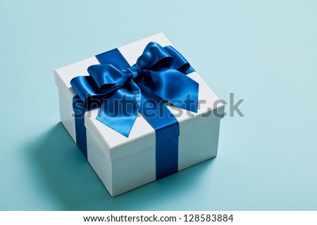 Gift, blue, ribbon - stock photo